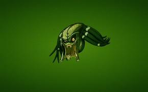 Wallpaper green, minimalism, predator, head, evil, predator