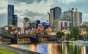 Picture bridge, building, Australia, promenade, Melbourne, Yarra River, Australia, Melbourne, the Yarra river, Princes Bridge