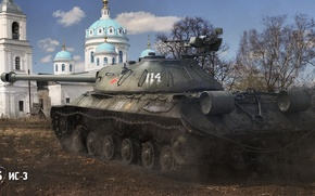 Picture field, trees, earth, Church, tank, heavy, Soviet, World of Tanks, Is-3