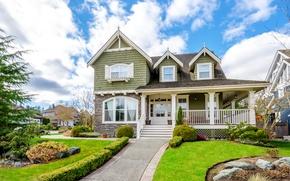 Picture grass, design, house, stones, mansion, the village, lawns