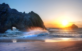 Picture sea, wave, the sky, rocks, sunset, beach, sand