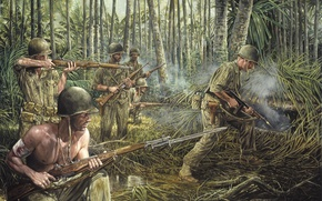 Picture grass, weapons, war, smoke, jungle, soldiers, war