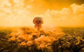 Picture death, clouds, skull, destruction, The explosion, the city