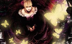 Picture flower, girl, butterfly, anime, art, bow, umineko no naku koro ni, when the seagulls cry, …