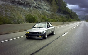 Picture road, BMW, BMW, grey, sedan, E30, The 3 series