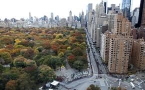 Picture USA, United States, skyline, trees, New York, Manhattan, NYC, New York City, autumn, view, roads, …