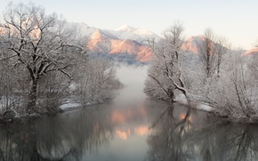 Picture reflection, snow, mountains, winter, fog, trees, river