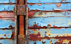 Picture metal, red, wood, paint, cyan, rust