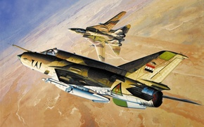 Picture war, aviation art, Grumman F-14 Tomcat, paintng, Mig-21 MF JAY Fighter