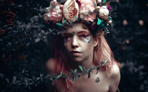 Picture girl, fantasy, roses, art, Pink Story