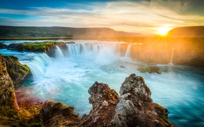 Wallpaper the sun, dawn, waterfall, Iceland, Godafoss