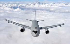 Picture clouds, flight, mountains, Boeing, the plane, tanker, transport, KC-767A