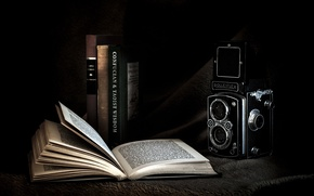 Picture background, the camera, book