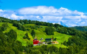 Picture the sky, grass, clouds, trees, mountains, home, slope, Norway
