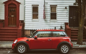 Picture red, Mini, New York City, car, Brooklyn