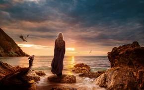 Picture girl, flight, sunset, stones, dragons, game of thrones, game of thrones, Daenerys Targaryen