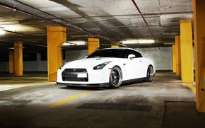 Picture white, nissan, Parking, white, wheels, drives, columns, Nissan, gtr, license plate, the front, gtr, r35