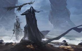 Picture sea, feet, shore, woman, God, giant, male, Raven, Titan