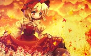 Wallpaper girl, falling leaves, autumn, anime, leaves