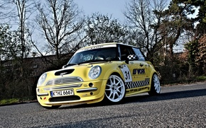 Wallpaper Asphalt, Room, Mini Cooper, trees, Auto, Tuning, Yellow, the front, MINI, Mini Cooper