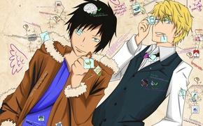 Picture anime, art, guys, Shizuo Heiwajima, Of Izaya Orihara, Durarara!!