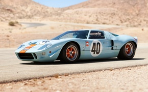 Picture road, hills, Ford, The Mans, Ford, supercar, classic, the front, 1968, GT40, Gulf Oil