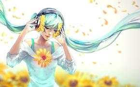 Picture flowers, petals, headphones, Hatsune Miku, long hair, art, vokaloid, closed eyes, Yuumei