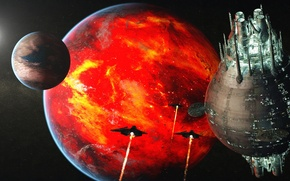 Wallpaper the moon, colony, science fiction, futuristic landscape, Rich35211, satellites, fiery planet, future, Scott Richard, Fire ...