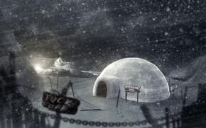Picture ice, winter, night, needle, Ice house