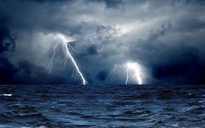 Picture sea, the storm, wave, clouds, zipper