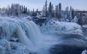 Picture ice, winter, snow, waterfall