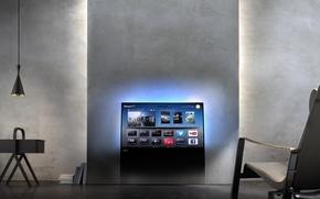 Picture wall, interior, chair, TV, Philips DesignLine TV