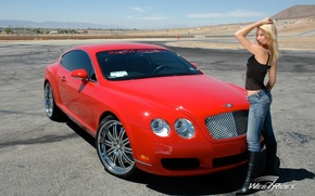 Picture road, the sky, girl, Bentley, Girls, red car