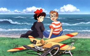 Picture wave, grass, joy, bike, glasses, propeller, two, art, Hayao Miyazaki, Kiki's delivery service, hayao Miyazaki, …