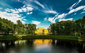 Picture lake, Saint Petersburg, Russia, Peter, Palace, SPb