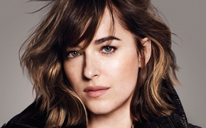 Wallpaper look, Dakota Johnson, Paola Kudacki, background, Dakota Johnson, actress, face, closeup, It, hairstyle, makeup, brunette, ...