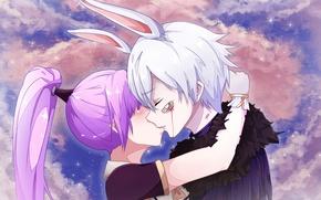 Picture Heaven, Clouds, Sky, anime, Female, Rabbit, Purple Background, Enchantress, DragonNest, Lilpanda, Cleric