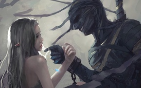 Picture girl, chain, pendant, male, Elf, shackles
