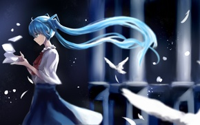 Picture girl, bird, anime, feathers, art, vocaloid, hatsune miku, mi chong wan