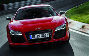 Picture Audi, Red, Audi, Logo, The hood, Lights, sports car, The front, R 8