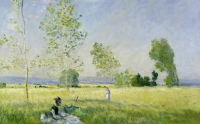 Wallpaper Claude Monet, picture, girl, Summer. Meadow at Bezons, landscape