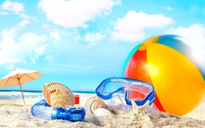 Picture sand, beach, stay, the ball, tube, vacation, shell, mask