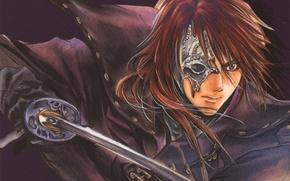 Picture katana, blade, mask, red, guy, cloak, art, Weiss Kreuz, Ran Fujimiya, Kyoko Tsuchiya