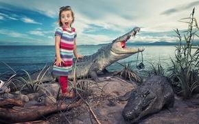 Picture humor, girl, crocodiles
