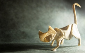 Wallpaper cat, paper, origami