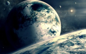 Picture space, clouds, star, planet, satellite, the atmosphere