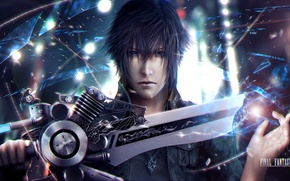Picture face, sword, guy, art, Final Fantasy XV, Night Light Sky, noctis