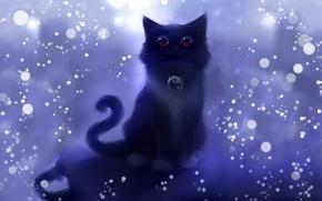 Wallpaper cat, circles, figure, art, sparks, symbol, Yin-Yang, kotska, style apofiss, Roydz