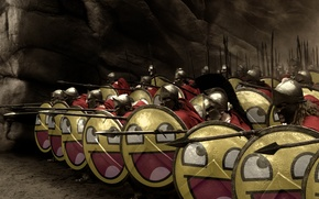Wallpaper 300 Spartans, warriors, shields, spears, smiles
