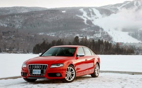 Picture winter, mountains, Audi, red, Audi S4
